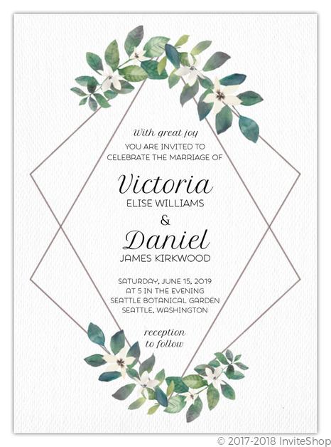 greenery diamond frame wedding invitation wedding invitations