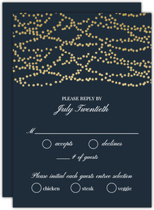 Gold String Lights Wedding Response Card