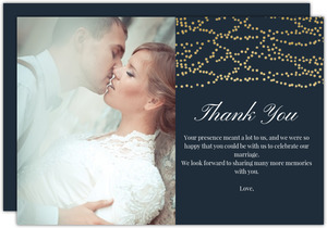 Gold String Lights Wedding Thank You Card