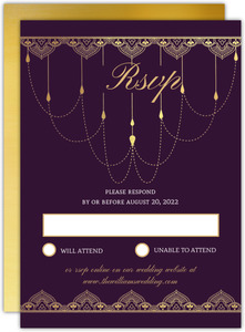 Purple & Faux Gold Wedding Response Card