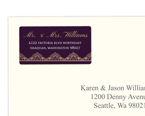 Purple & Faux Gold Wedding Address Label