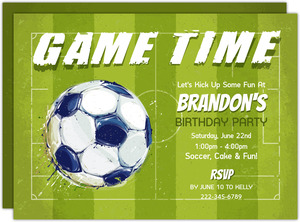 Paint Splatter Game Time Soccer Party Invitation