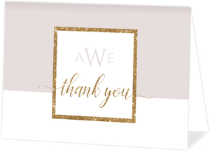 Modern Glittery Frame Graduation Thank You Card