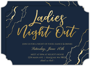 Faux Gold Marble Girls Night Out Invitation