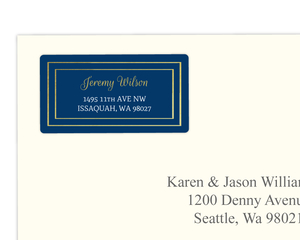 Elegant Faux Gold Border Navy Address Label