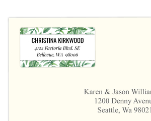 Watercolor Tropical Leaves Address Label