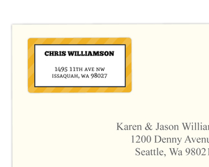 Yellow and Gray Stripe Address Label