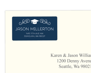 Modern White and Blue Address Label