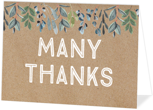 Rustic Greenery Kraft Thank You Card