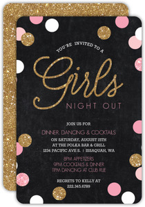 Sparkling Pink and Gold Girls Night Out Invitation