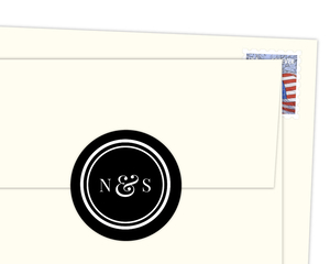 Classic Black And White Circles Envelope Seal
