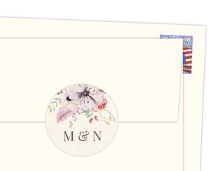 Whimsical Feathers And Floral Round Envelope Seal