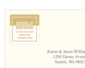Modern Faux Glitter Frame Address Label