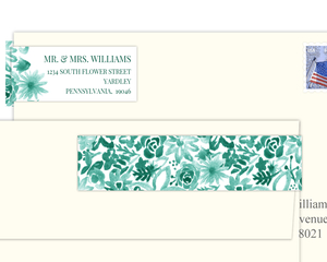Turquoise Watercolor Floral Pattern Address Label