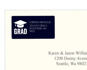 Navy Blue And White Graduation Cap Address Label