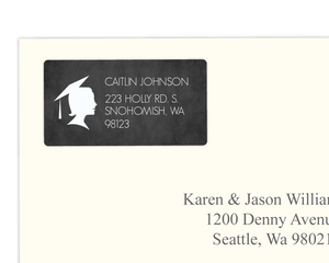 Chalkboard With White Silhouette Graduation Address Label