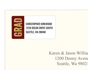 Simple Faux Gold Foil Graduation Address Label