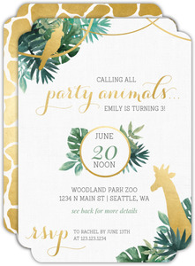 Party Animal Faux Foil Kids Birthday Invitation
