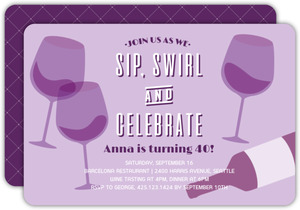 Wine Vintage Glasses 40th Birthday Invitation