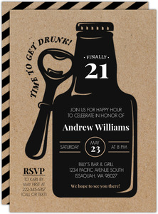 Rustic Beer Bottle 21st Birthday Invitation