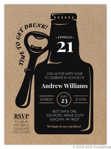 Rustic beer bottle 21st birthday invitation 21st birthday invitations rustic beer bottle 21st birthday invitation filmwisefo