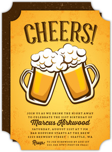 Beer Mugs Cheer 21st Birthday Invitation