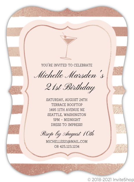 Faux Rose Gold Cocktail 21st Birthday Invitation