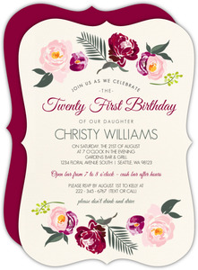 Boho Rose Gold Floral 21st Birthday Invitation