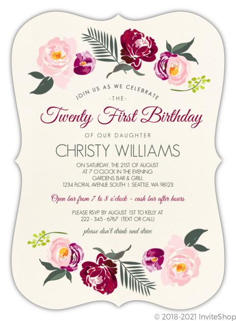 Boho Rose Gold Floral 21st Birthday Invitation