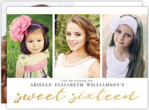 Faux Gold Script Photo Collage Sweet 16 Invitation