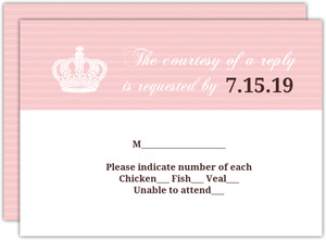 Pink Crown Heart Quinceanera Response Card