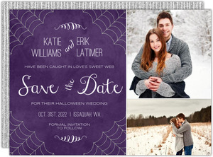 Silver Spider Web Halloween Save The Date Card