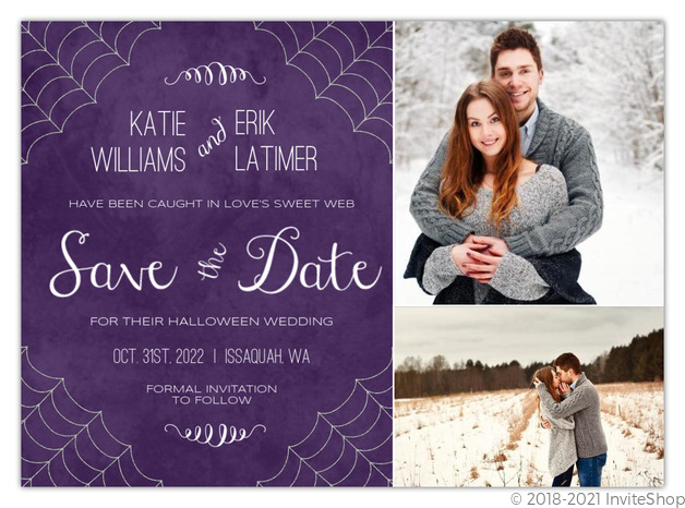 Silver Spider Web Halloween Save The Date Card Save The Date Cards