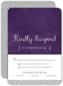 Silver Spider Web Halloween Wedding Response Card