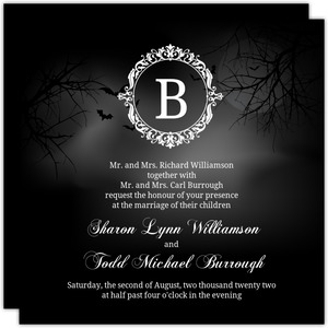 Elegant Monogram Halloween Wedding Invitation