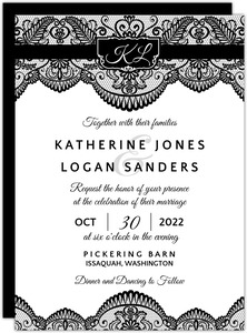 Elegant Black Lace Halloween Wedding Invitation