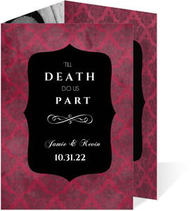 Pink & Black Damask Halloween Wedding Invitation
