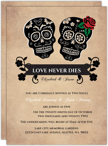 Day of the Dead Halloween Wedding Invitation