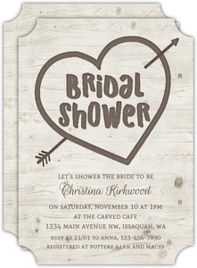 Heart Carved Wood Bridal Shower Invitation