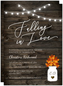 Falling In Love Rustic Bridal Shower Invitation