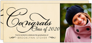Rustic Yellow Black Elegant Swirl Graduation Invitation
