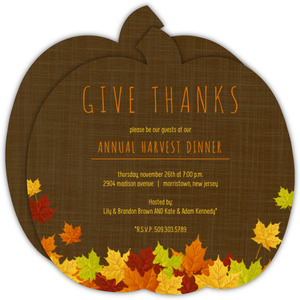 Pumpkin Pile Of Fall Leaves Thanksgiving Invitation