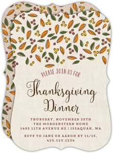 Rustic Fall Leaves Burlap Thanksgiving Invitation