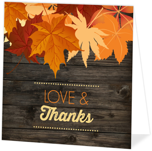 Autumn Woodgrain Leaves Thanksgiving Card