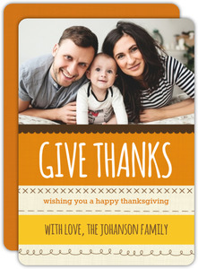 Give Thanks Stitched Thanksgiving Photo Card