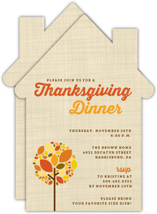 Burlap Fall Tree Thanksgiving Invitation