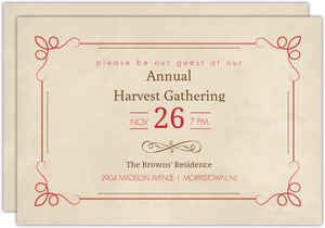 Simple Antique Red And Brown Thanksgiving Invitation