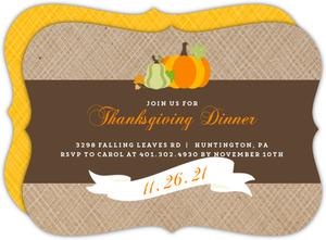 Elegant Banner and Golden Stripe Thanksgiving Invitation