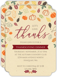 Give Thanks Colorful Pattern Thanksgiving Invitation