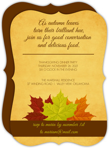 Green Orange and Red Fall Leaves Thanksgiving Invitation